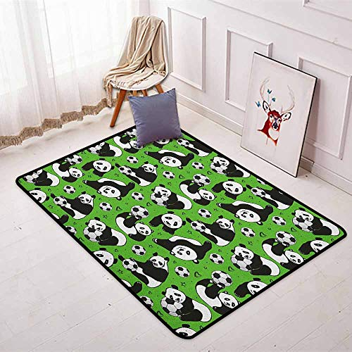 Soccer Super Soft Round Home Carpet Funny Panda Animals Playing with Balls Hand Drawn Style Hearts and Stars for Sofa Living Room W47.2 x L71 Inch Lime Green Black White ()