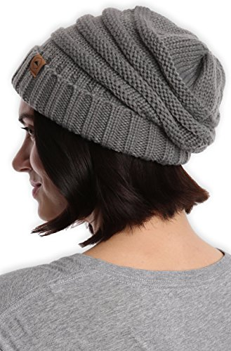 Cable Knit Winter Hat - Tough Headwear Cable Knit Beanie - Thick, Soft & Warm Chunky Beanie Hats Women & Men