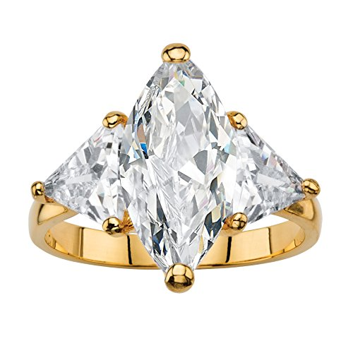 Palm Beach Jewelry Marquise and Trilliant-Cut White Cubic Zirconia 14k Gold-Plated 3-Stone Ring Size 7