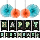 Glowing Happy Birthday Banner + 4 Hanging Fans – Glow in The Dark Birthday Party Supplies – Ultimate Kids Birthday Party Decorations with Colorful Letters Bunting UV Banner by LIDERSTAR