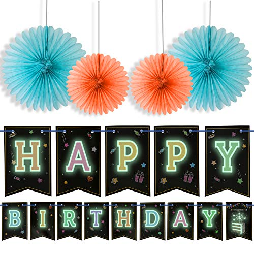 Happy Birthday Banner With 4 Fans,Glow In The Dark UV Party Decoration Happy Birthday Glowing bunting Carnival/Kids Party Supplies Favors Colors Hanging Decoration by LIDERSTAR