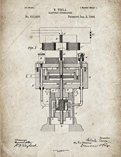 Tesla Notebook: Nikola Tesla - Electric Generator Blueprint Journal Diary, 120 Dot Grid Pages, 8.5x11 Inches, Scratched Metal Cover