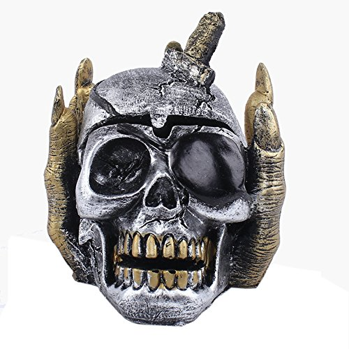 SMYLLS Skull Ashtray with Cover As Gothic Smoking Room Decor Gifts for Smokers (Macanudo Vintage compare prices)