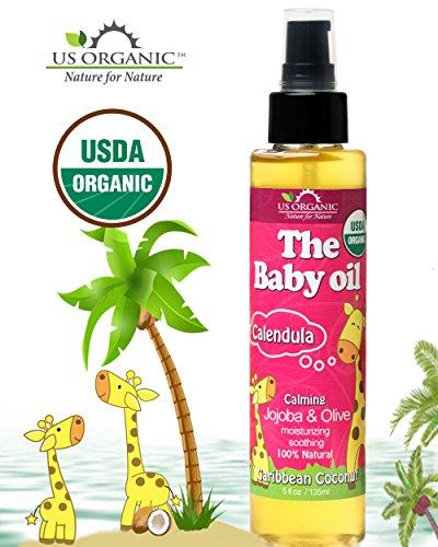 El aceite de bebé orgánico - con caléndula, coco Caribe suave, certificado orgánico por la USDA, Jojoba y aceite de oliva con vitamina e. Sin Alcohol, Paraben, detergentes artificiales, colores, perfumes sintéticos, 5 fl oz