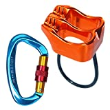 GYDING Professional Rescue ATC Guide Belay Device 25KN V-grooved Safety Abseiling Belay Device for Climbing Rappelling (Orange+a 25KN carabiner)