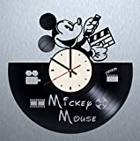 unique nursery ideas Disney Mickey Mouse vinyl wall clock - handmade artwork unique home bedroom living kids room nursery wall decor great gifts idea for birthday, wedding, anniversary - customize your clock (White/Black)