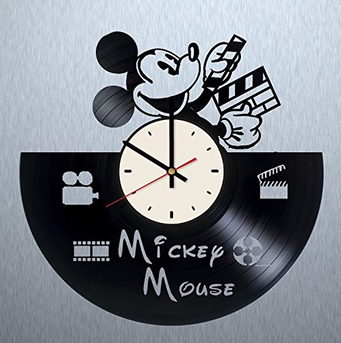 Disney Mickey Mouse vinyl wall clock - handmade artwork unique home bedroom living kids room nursery wall decor great gifts idea for birthday, wedding, anniversary - customize your clock (White/Black)
