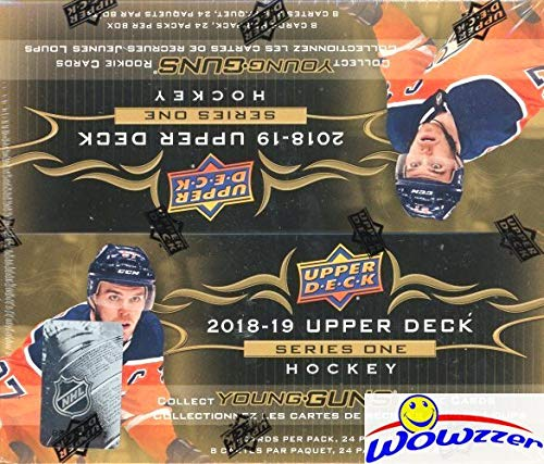 (2018/19 Upper Deck Series 1 NHL Hockey MASSIVE Factory Sealed 24 Pack Retail Box with 192 Cards & Game Jersey Card! Includes SIX(6) YOUNG GUN ROOKIES, 3 Canvas Cards & 4 Portrait Inserts! WOWZZER!)