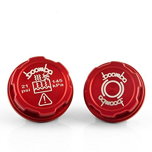 (Boomba Racing Brake Fluid / Coolant Tank Cap Covers RED for 2013+ Ford Focus ST )