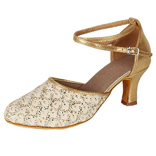 UKMF1802 Ballroom Women's Model Latin Shoes Heel 7CM HIPPOSEUS Dance Gold wqOTgFg6