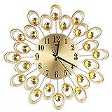 ZXWCYJ Metal Wall Clock,Wall Clock Diamonds Decorative, Modern Round Design Diamond Clock Decor for Living Room and Bedroom,Gold