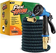 "Flexi Hose Upgraded Expandable Garden Hose, Extra Strength, 3/4"" Solid Brass Fittings - The Ultimate No-K"