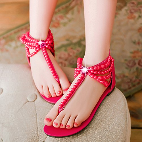YE Damen Zehentrenner Flache Knöchelriemchen Sandalen mit Perlen und Reißverschluss ohne Absatz Bequem Sommer Schuhe Rot