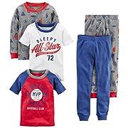 Carter's Boys' 5-Piece Cotton Snug-Fit Pajamas, Sports, 6 Months