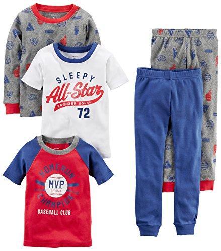 Carter's Boys' 5-Piece Cotton Snug-Fit Pajamas, Sports, 24 Months