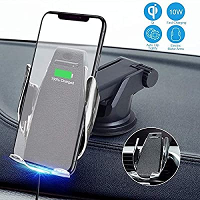 Wireless Smart Car Charger Mount Intelligent Sensing Auto Clamping 10W/7.5W Qi Fast Charging Car Mount Compatible with iPhone 11 Pro Xs Max XR 8 Plus, Samsung S10 S9 S8 (Dashboard and Air Vent Holder)