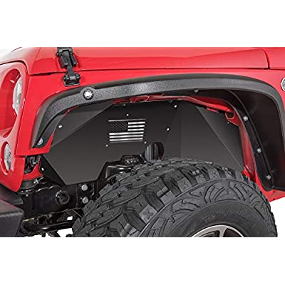 OPALL Fit Jeep Wrangler Front Inner Fender Liners for 2007-2020 2 Door & 4 Door Jeep Wrangler JK JKU 4WD US Flag Logo Lightweight Aluminum Design Black: Automotive