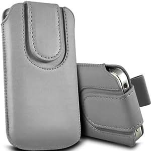 Samsung I9500 Galaxy S4 premium protección PU botón magnético ficha de extracción Slip In Pouch Pocket Cordón piel cubierta de liberación rápida Gris del caso por Spyrox