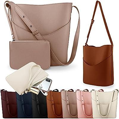 Oct17 Women Tote Bucket Bag, PU Leather Shoulder Handbag, Fashion Ladies Purse Top Handle Satchel Crossbody Bags