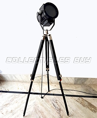 Retro Black Aluminum Floor Lamps Nautical Ship Searchlight Authentic Hall Focus Light Antique Decoration Lighting with Wooden Tripod Handmade Articles - collectiblesBuy by Collectibles Buy