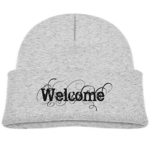 Kids Knitted Beanies Hat Welcome Winter Hat Knitted Skull Cap for Boys Girls -