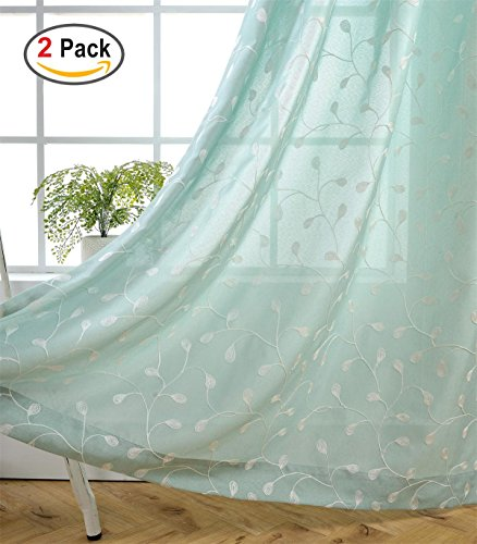 Miuco Floral Embroidered Semi Sheer Curtains Linen Look Grommet Panels for Bedroom 52 x 95 Inch 2 Panels, Subtle (Floral Embroidered Curtain)