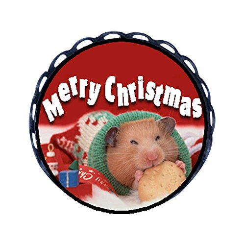 ent Style Christmas Hamster with Cookie Round Pin Brooch ()