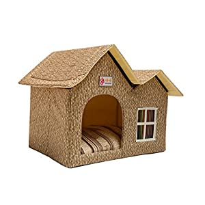 Luxury Double Roof Dog House Room Cat Bed Pet Crates For Dogs Portable Folding Kennel For Pets Indoor Outdoor High-end (Beige)