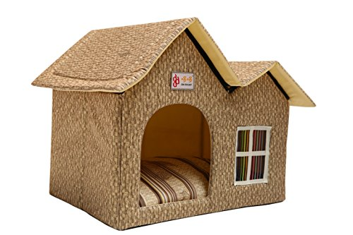 (ZPPMC Luxury Double Roof Dog House Room Cat Bed Pet Crates for Dogs Portable Folding Kennel for Pets Indoor Outdoor High-end (Beige))