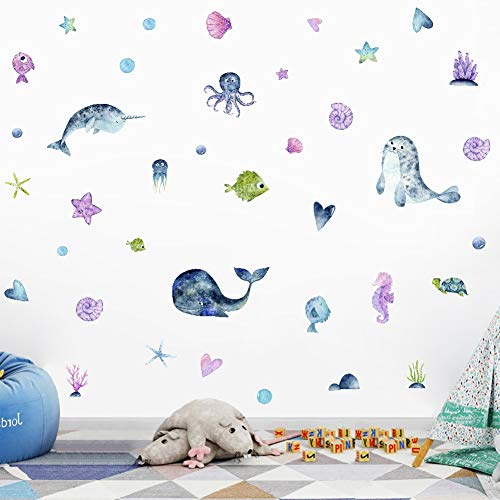 - IARTTOP Watercolor Narwhal Wall Decal, Dolphin Octopus Fish Wall Sticker Decor, Ocean Sea Life Stickers for Nursery Bathroom Decoration