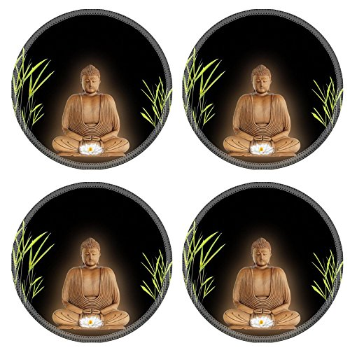 Serena & Lily 3 Piece (Luxlady Round Coasterss IMAGE ID 4 Buddha with golden aura in prayer holding a glowing white lotus lily flower with bamboo grass either side Over black)