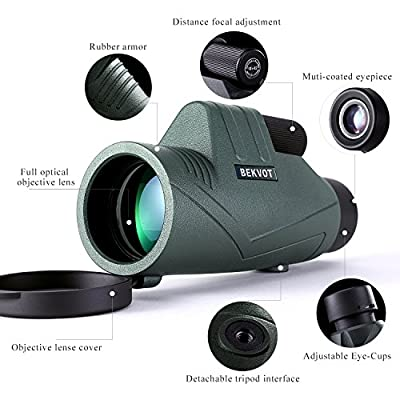 BEKVOT Monocular for Adults, 10X42 Compact High-Definition, with Clip for Mobile Photography, Waterproof Telescope Scope High Power, for Hunting, Shooting, Camping and Wildlife Exploration