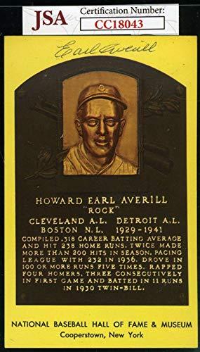 EARL AVERILL JSA COA Autograph Gold HOF Plaque Hand Signed Authentic