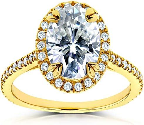 Kobelli Oval Moissanite and Lab Grown Diamond Halo Engagement Ring 1 4/5 CTW 14k Yellow Gold (HI/VS, DEF/VS)