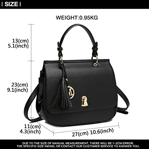 Crossbody Shoulder Bags Handle Top Ladies Pu Satchel bk Bag Casual Lulu For Totes Tassel Women's Leather Miss 1832 nSxYqXIUzw