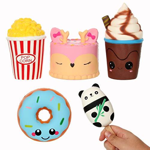 MENGWEI 5 PCS Kawaii Pink Deer Cake,Popcorn,Brown Cream Cup,Blue Donut,Panda Stick Squishies Jumbo Slow Rising Toys for Kids and Adults.