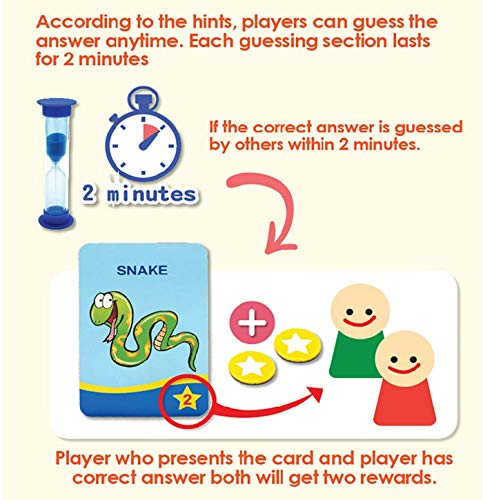 """2021 New Card Game, """"Guess What"""" TeamKids Board Game with Round Turntable and 2-Minute Sand Timer