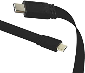 Flat USB C to USB C 3.1 Gen 2 10Gbps Cable 1 Meter, HuaLong 4K Video Sync Data Charging Wire Compatible Thunderbolt 3, MacBook Pro, Samsung Galaxy, Google Nexus and More