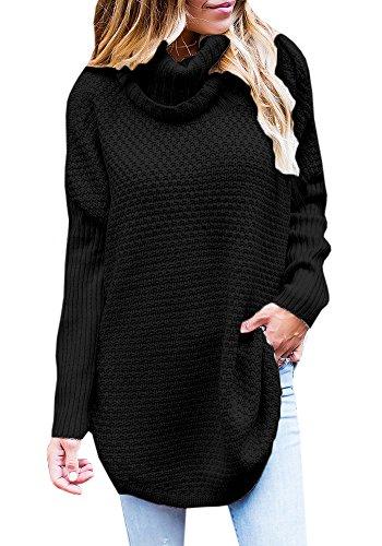 MY4168 Tutorutor Women's Oversize Turtleneck Batwing Loose Knit Pullover Sweater Knitwear (Knit Turtleneck Sweater)