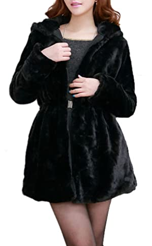 Youtobin Women Thick Long Sleeved Faux Faux Fur Hooded Coat XL Black Add Cotton