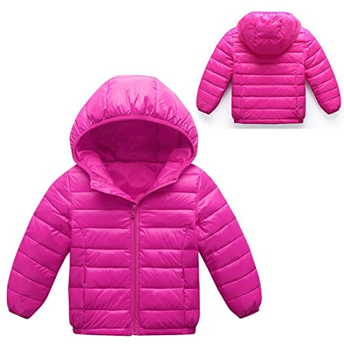 Up 8T 3 Hooded Long Coat Down AIEOE Winter Jacket Zipper Outwear Sleeve Girls Rose TU7w0PnC