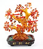 "Feng Shui 11"" Red Gem Stones Money Fortune Tree Bonsai Home Decor Wealth Blessing Gift US Seller"