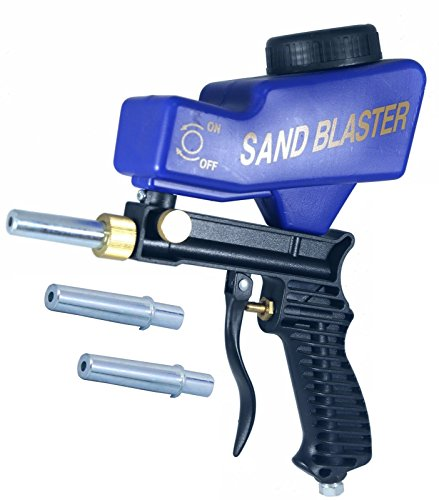 Gravity Feed Sandblast Gun || Portable Sandblaster with Adjustable Valve || Speed Blaster || Pneumatic Sand Blasting Nozzle Gun || with 2 extra replaceable Tips (3 tips in total) from KTFAB