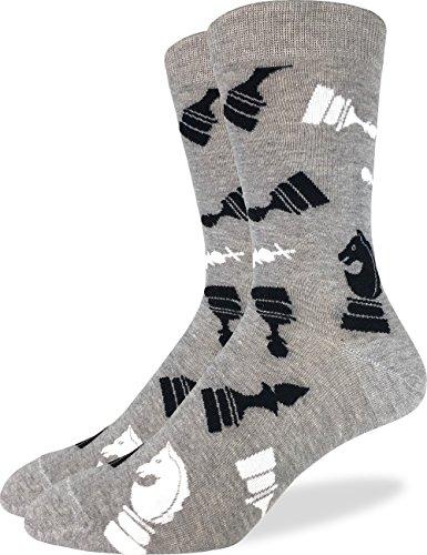 Good Luck Sock Men's Chess Crew Socks - Grey, Shoe Size 7-12