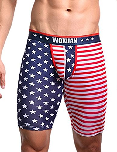 Men's American Flag Compression Shorts Running Workout Gym Summer Tight Shorts (US S: waist 30