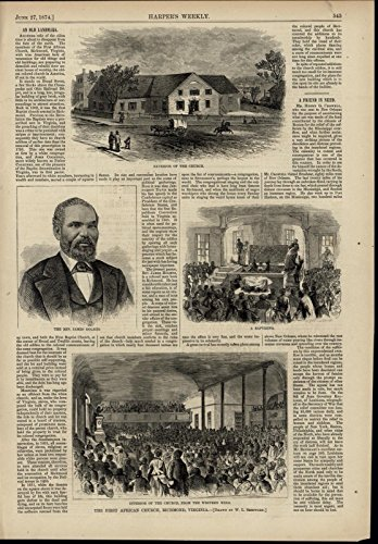 1st African American Church Richmond Baptizing 1874 great old print for ()