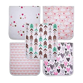 """Baby Girl Burp Cloths, 20"""" by 10"""" Large 5-Pack Organic Burping Rags for Newborns, Infant's Triple Layer Gift Set"""" Destiny"""" NJ BABY GEAR EST. 2019"""
