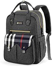 LifeSky Diaper Bag Backpack, Large Multi-functional Baby Bags, Waterproof Travel Nappy Packs, Dark Grey and Plaid