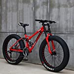 "51GsYKI tZL. SS150 XHJZ Mountain Bike, 24"" 26 Pollici Fat Tire Hardtail Mountain Bike, Sospensione Doppia Telaio e sospensioni Forcella all Terrain Mountain Bike,Rosso,24 inch 24 Speed"