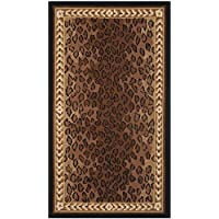 29x49 Brown Black Leopard Dots Printed Runner Rug, Africa Themed, Indoor Graphical Pattern Living Room Rectangle Carpet, Soft Wool, Wild Animals Exotic Jungle Zoo Safari Outback
